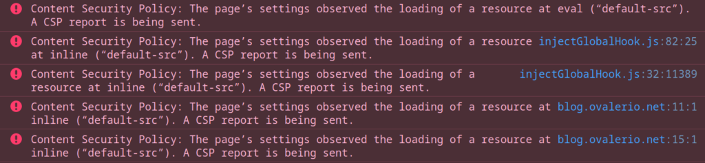 CSP violations logs on the browser console