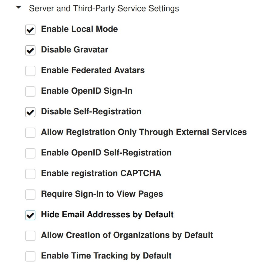 Part of Gitea's configuration page. Server and Third-Party Service Settings.